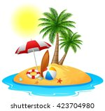 tropical island with palm trees | Shutterstock .eps vector #423704980