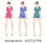 colored paper doll young girl... | Shutterstock .eps vector #423712798