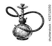 hookah vector silhouettes... | Shutterstock .eps vector #423713350