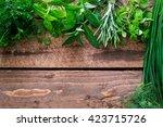 fresh herbs   background | Shutterstock . vector #423715726