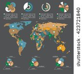 infographics template and world ... | Shutterstock .eps vector #423721840
