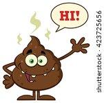 funny poop cartoon character... | Shutterstock .eps vector #423725656