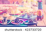 fiesta party buffet table with... | Shutterstock . vector #423733720