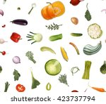 vegetables pattern on white  ... | Shutterstock .eps vector #423737794