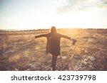 carefree happy woman  enjoying...   Shutterstock . vector #423739798