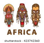 set of traditional african... | Shutterstock .eps vector #423742360