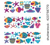 vector flat hand drawn icons... | Shutterstock .eps vector #423758770