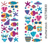 vector flat hand drawn icons... | Shutterstock .eps vector #423758830