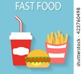 fast food flat design.gamburger ... | Shutterstock .eps vector #423760498