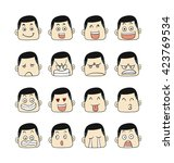 men emotions faces vector... | Shutterstock .eps vector #423769534