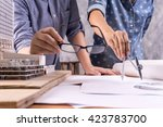 architect drawing on... | Shutterstock . vector #423783700