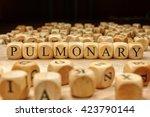 pulmonary word written on wood... | Shutterstock . vector #423790144