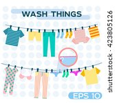 Stock vector vector illustration wash things clothes hanging on a rope laundry home dried things on the 423805126