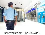security guard and cctv in the... | Shutterstock . vector #423806350