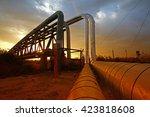 oil pipeline  the oil industry...   Shutterstock . vector #423818608