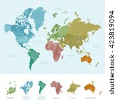 continents and countries on the ... | Shutterstock .eps vector #423819094