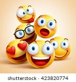 Smiley Faces Group Of Vector...