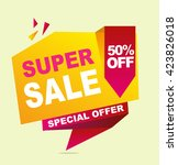 super sale color banner. vector ... | Shutterstock .eps vector #423826018