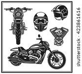 motorcycle design elements set... | Shutterstock .eps vector #423861616