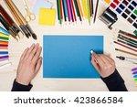 top view of artist's hand... | Shutterstock . vector #423866584