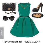 lady fashion set of spring... | Shutterstock .eps vector #423866644