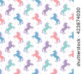 seamless pattern with unicorn... | Shutterstock .eps vector #423874030