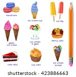 set of sweet products.... | Shutterstock .eps vector #423886663