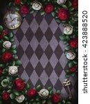 alice in wonderland. red  roses ...   Shutterstock . vector #423888520