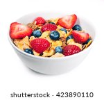 breakfast bowl with cereals and ...   Shutterstock . vector #423890110