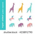 paper origami vector animals... | Shutterstock .eps vector #423891790