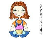 the girl in an apron and... | Shutterstock .eps vector #423897268