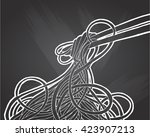 chinese noodles and chopsticks  ... | Shutterstock .eps vector #423907213