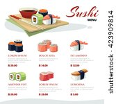 vector picture of sushi rolls... | Shutterstock .eps vector #423909814