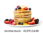 pancake. crepes with berries ...   Shutterstock . vector #423911638
