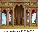 thai temple entrance golden... | Shutterstock . vector #423916690