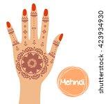 henna tattoo. mehndi in hand.... | Shutterstock .eps vector #423934930