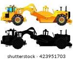 tractor scraper. heavy... | Shutterstock .eps vector #423951703