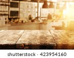 summer sun in window and desk... | Shutterstock . vector #423954160