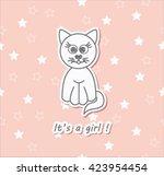 vector hand drawn baby cat ... | Shutterstock .eps vector #423954454