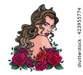 vector color woman roses...   Shutterstock .eps vector #423955774