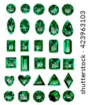 set of realistic green jewels.... | Shutterstock .eps vector #423963103