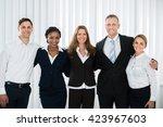 group of happy businesspeople... | Shutterstock . vector #423967603
