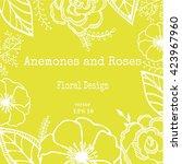 vintage floral card with garden ... | Shutterstock .eps vector #423967960