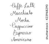 handwritten coffee types text... | Shutterstock .eps vector #423968290