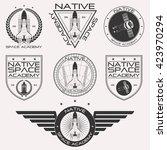 vintage retro space academy... | Shutterstock .eps vector #423970294