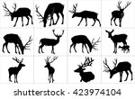 set of deers vector silhouette... | Shutterstock .eps vector #423974104