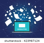 newsletter with letter and... | Shutterstock .eps vector #423987124