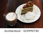 hot capuchino with almond... | Shutterstock . vector #423990730
