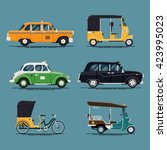 cool vector set of world taxi... | Shutterstock .eps vector #423995023
