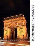 night shot of the  arc de... | Shutterstock . vector #424002739